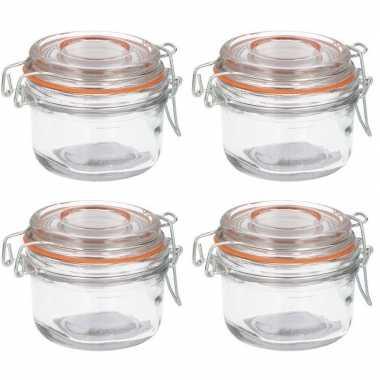 Luchtdichte pot transparant glas 125 ml prijs
