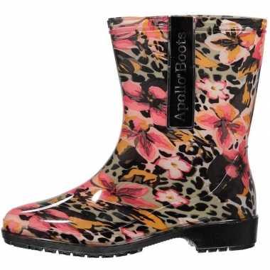 Luipaard/bloemen motief regenlaarzen voor dames maat 37 prijs