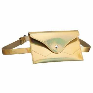 Metallic goud mini heuptasje aan riem voor dames prijs