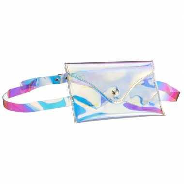 Metallic parelmoer mini heuptasje aan riem voor dames prijs