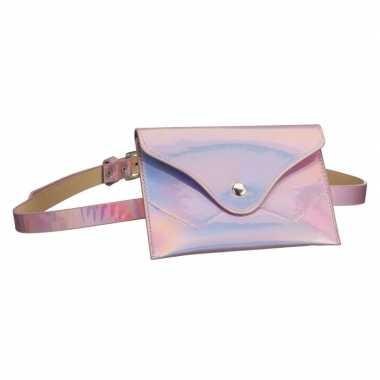 Metallic roze mini heuptasje aan riem voor dames prijs
