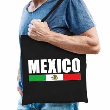 Mexico supporter schoudertas zwart katoen prijs