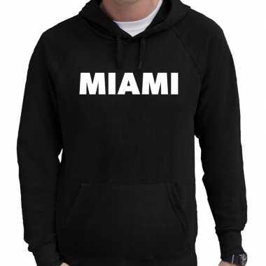 Miami hooded sweater zwart met miami bedrukking voor heren prijs