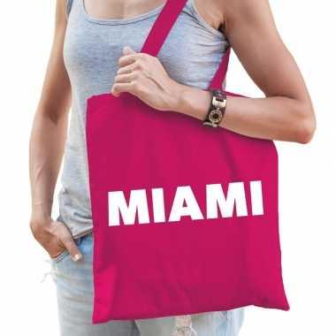 Miami schoudertas fuchsia roze katoen prijs