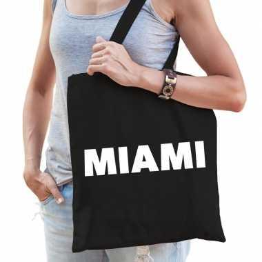 Miami schoudertas zwart katoen prijs