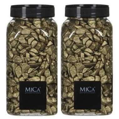 Mica decoratie stenen/kiezels goud 2 kg/kilo prijs