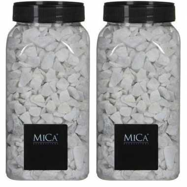 Mica decoratie stenen/kiezels wit 2 kg/kilo prijs