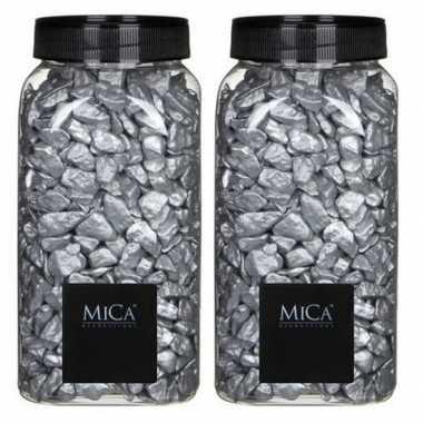 Mica decoratie stenen/kiezels zilver 2 kg/kilo prijs