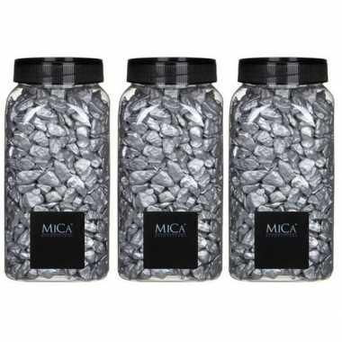 Mica decoratie stenen/kiezels zilver 3 kg/kilo prijs