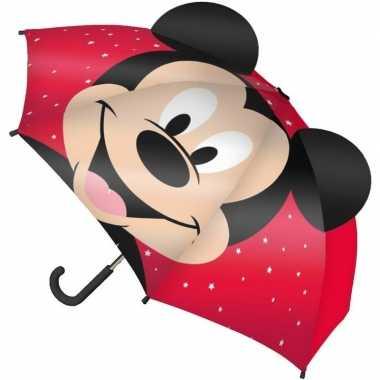 Mickey mouse oren kinderparaplu rood voor jongens prijs