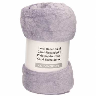 Midden lavendel warme fleece deken/plaid 150 x 200 cm prijs