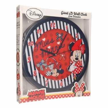Minnie mouse wandklok 3d blauw prijs