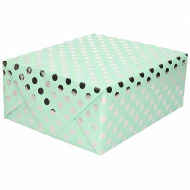 Mint groene folie geschenkpapier zilveren stip 200 x 70 cm prijs