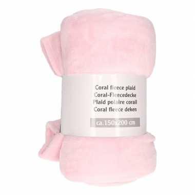 Mist roze warme fleece deken 150 x 200 cm prijs
