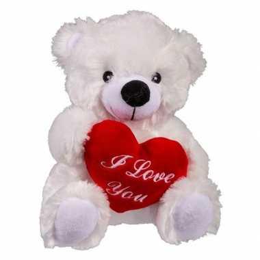 Moederdag cadeau witte knuffelbeer met hartje 22 cm prijs