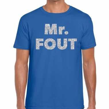 Mr. fout zilveren letters fun t-shirt blauw voor heren prijs