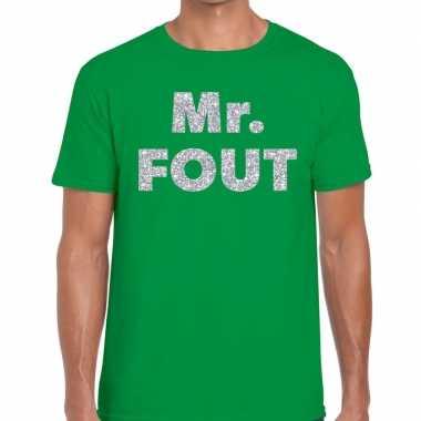 Mr. fout zilveren letters fun t-shirt groen voor heren prijs