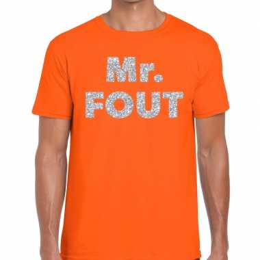 Mr. fout zilveren letters fun t-shirt oranje voor heren prijs