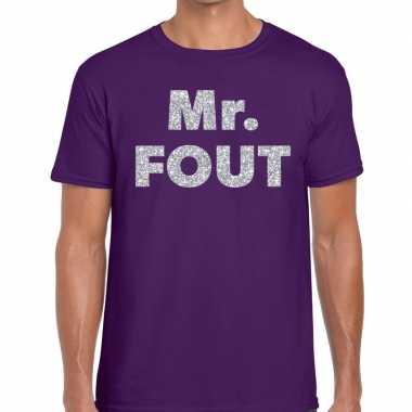 Mr. fout zilveren letters fun t-shirt paars voor heren prijs
