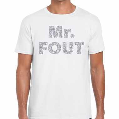 Mr. fout zilveren letters fun t-shirt wit voor heren prijs