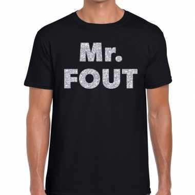 Mr. fout zilveren letters fun t-shirt zwart voor heren prijs