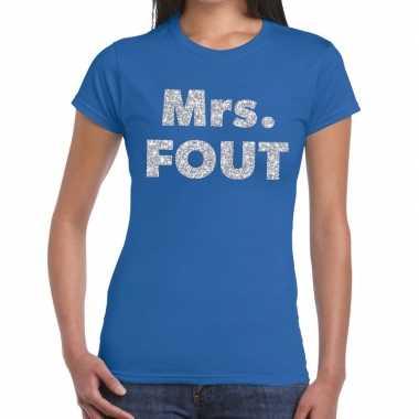 Mrs. fout fun t-shirt blauw met zilver voor dames prijs