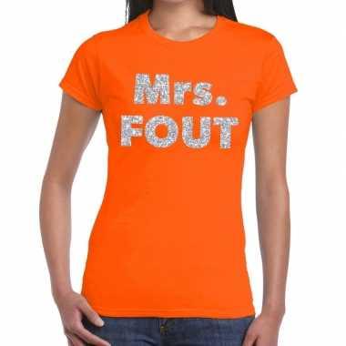 Mrs. fout fun t-shirt oranje met zilver voor dames prijs