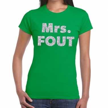 Mrs. fout zilveren letters fun t-shirt groen voor dames prijs