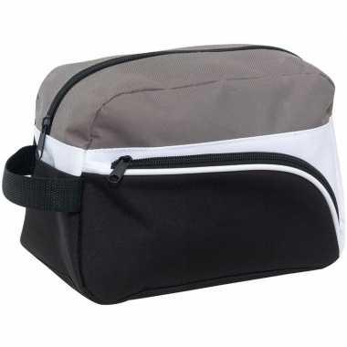 Multikleur zwart/grijs/wit reis toilettas/etui 25 cm voor heren prijs