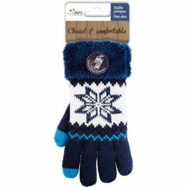Navy blauwe gebreide smartphone touchscreen handschoentjes met noorse