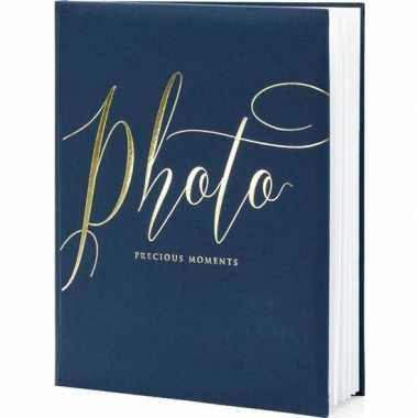 Navy blauwe/gouden fotoalbums/fotoboeken 20 x 25 cm precious moments