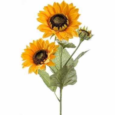 Nep/namaak zonnebloemen kunstbloemen 62 cm 3 knoppen prijs