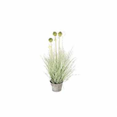 Nep planten groene allium sierui grasplant kunstplanten 53 cm met gri