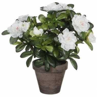 Nep planten groene azalea kunstplanten met witte bloemen 27 cm met po