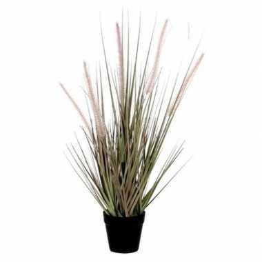 Nep planten groene dogtail siergras kunstplanten 53 cm met zwarte pot