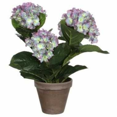 Nep planten groene hortensia paarse bloemen kunstplanten 40 cm met po