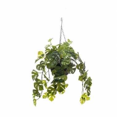 Nep planten groene monstera gatenplant kunstplanten 50 cm met hangpot