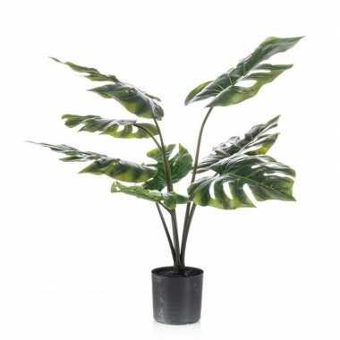 Nep planten groene monstera/gatenplant kunstplanten 60 cm met zwarte