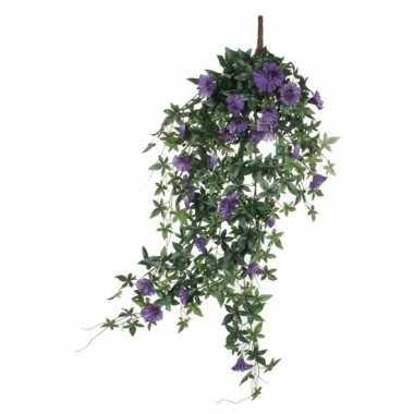 Nep planten groene petunia met paarse bloemen kunstplanten 80 cm met