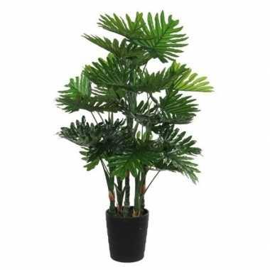 Nep planten groene philodendron kunstplanten 120 cm met zwarte pot pr