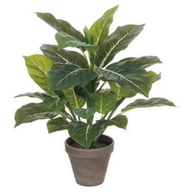 Nep planten groene philodendron kunstplanten 49 cm met grijze pot pri