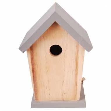 Nestkastje met grijs dakje voor kleine tuinvogels 21 cm prijs