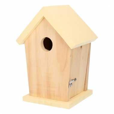 Nestkastje met lichtgeel dakje voor kleine tuinvogels 21 cm prijs