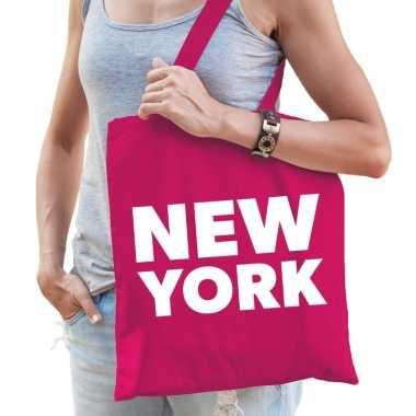 New york schoudertas fuchsia roze katoen prijs