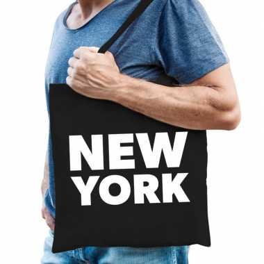 New york schoudertas zwart katoen prijs