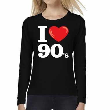 Nineties long sleeve shirt met i love 90s bedrukking zwart voor dames