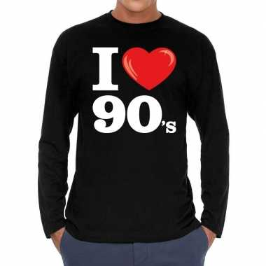 Nineties long sleeve shirt met i love 90s bedrukking zwart voor heren