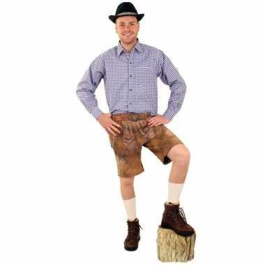 Oktoberfest blauw met wit geblokt overhemd heren prijs