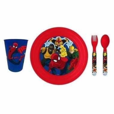 Vergelijk ontbijtset spiderman met 3d bord voor kinderen prijs
