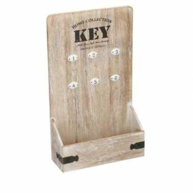 Opberg sleutelkastje mdf voor 6 sleutels 22 x 38 cm prijs